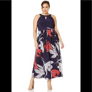 S.L.Fashions Floral Maxi Dress,navy multi,NWT